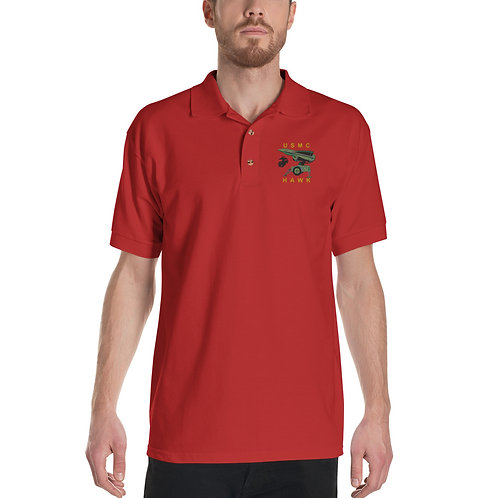 USMC HAWK Embroidered Polo Shirt Black EGA