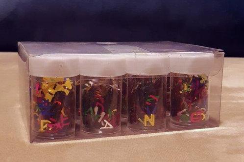 علبة جلترات أحرف 12علبة الوان مختلفة