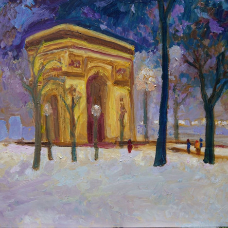 Arc de Triomphe in Snow