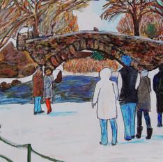 Gapstow Bridge in Snow
