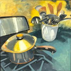 Stovetop: Pot, Utensils, Yellow