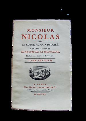 RESTIF de la BRETONNE. M.Nicolas ou le Cœur humain dévoilé. 1924.