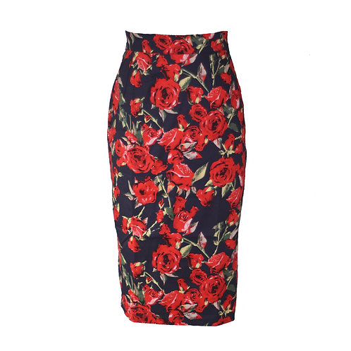 Rizzo pencil skirt, black with roses