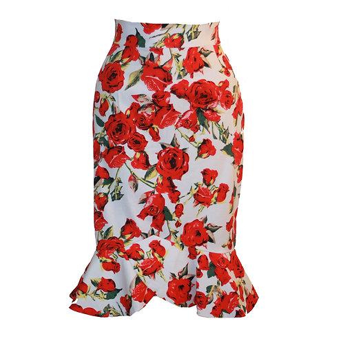Frances Skirt, white with red roses 0224