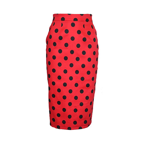 Rizzo skirt Red with black poker dots