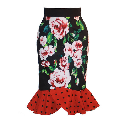 Frances Skirt black with red poker dots & Roses 0212