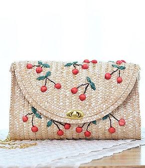 Cherry straw Handbag