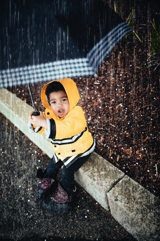 Playing in the rain.