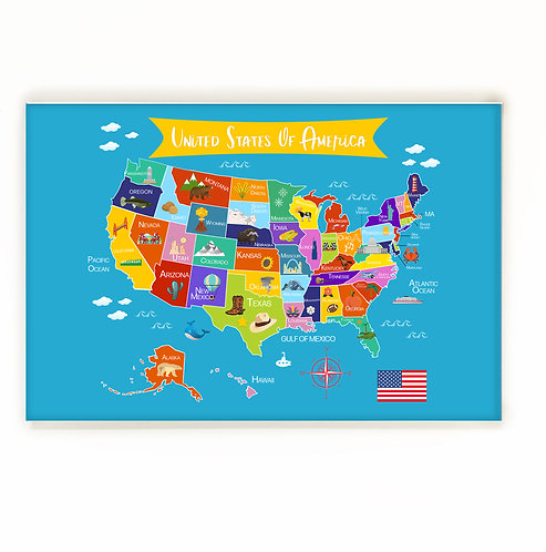 Printable Blue United States of America Map