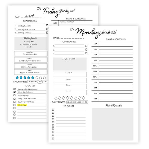 7 Day Daily Planner- Digital Download