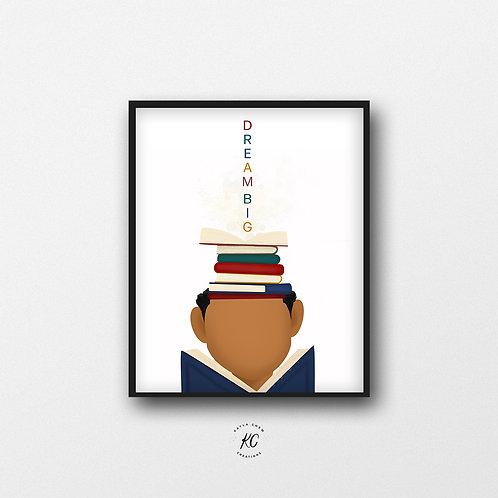 Boy Readers Dream Big Art Printable