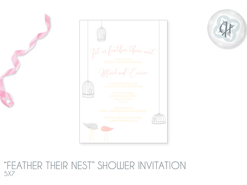 """""""Feather their Nest"""" -Bridal Shower Invitations"""
