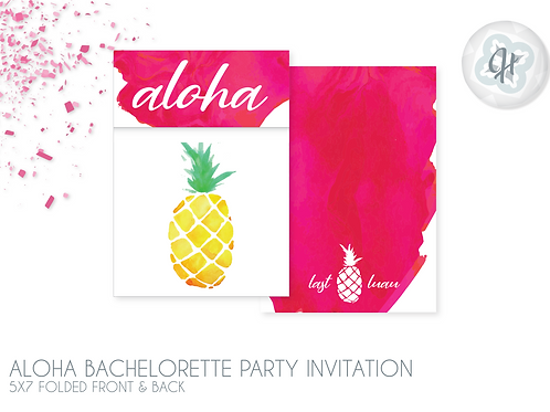 Aloha Pineapple - Bachelorette Party Invitations