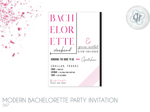 Modern Editorial - Bachelorette Party Invitations