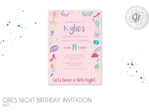 Girl's Night Birthday Invitations