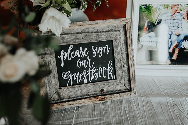 Guest book sign for a beautiful barn wed