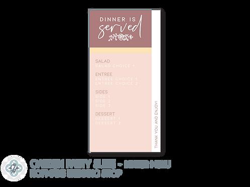 Garden Party Suite - Dinner Menu