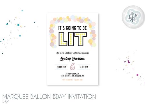 Marquee Balloon Birthday Invitation