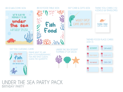 Under the Sea - Birthday Party Pack