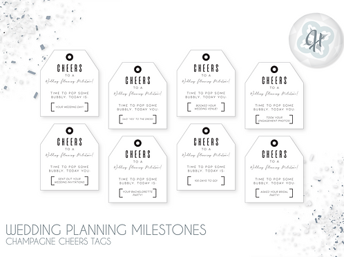 Wedding Planning Champ Cheers Tags - Black & White