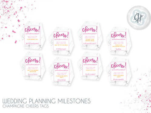 Wedding Planning Champ Cheers Tags - Marble