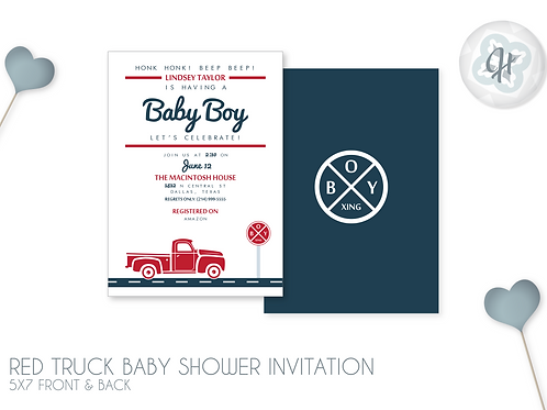 Red Truck - Baby Shower Invitations