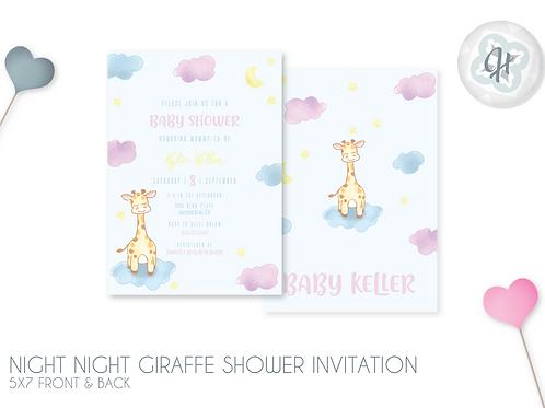 Night Night Giraffe - Baby Shower Invitations
