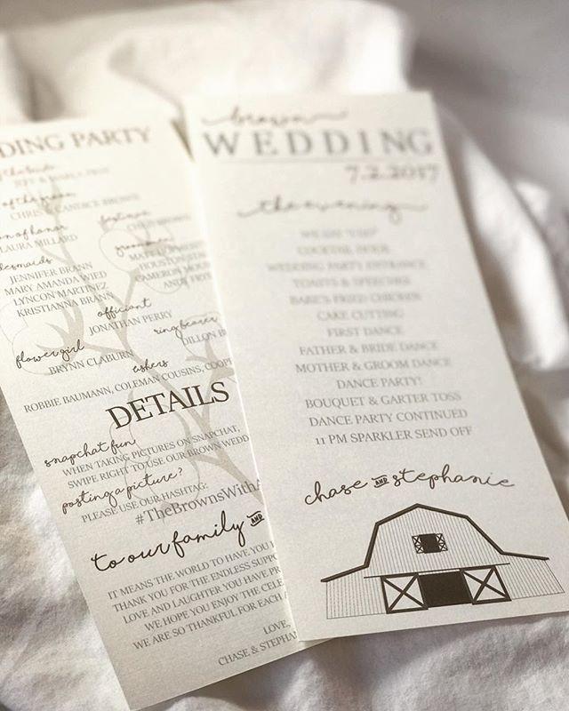 Rustic wedding program featuring the Mor