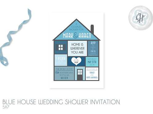 Blue House - Wedding Shower Invitations