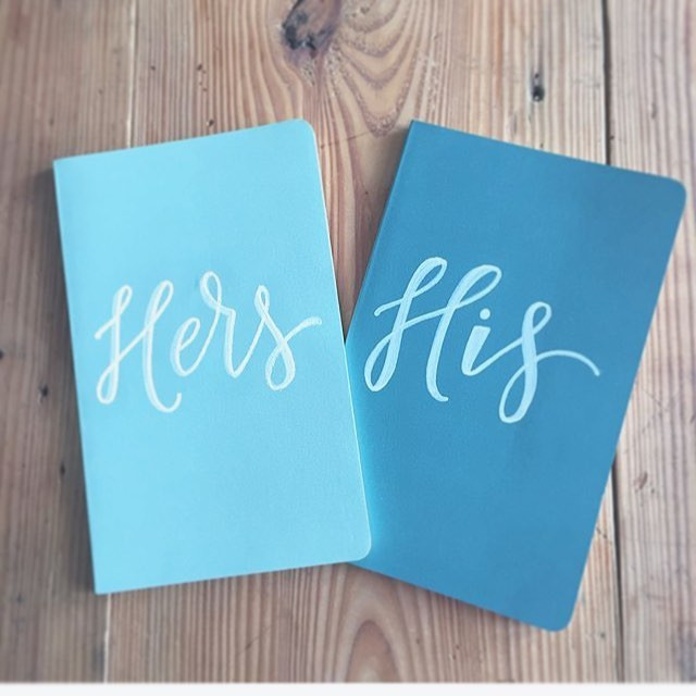 His and hers embossed vow books for a fr