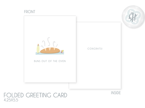 Bun Outta the Oven Baby Card