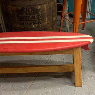 SURFBOARD BENCH WITH A WOOD FRAME