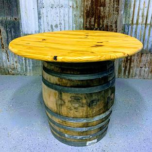 RUM BARREL TABLE WOOD TOP