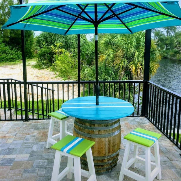 RUM BARREL TABLE RECYCLED PLASTIC