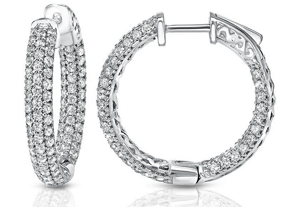"Triple Pave 1"" Hoops"