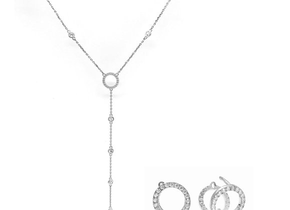 Lovely Lariat Set in White Gold