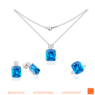 Striking Topaz Necklace, Earrings and Cocktail Ring size 7 / Exclusive Nonprofit Price: $275 / Value: $1,100