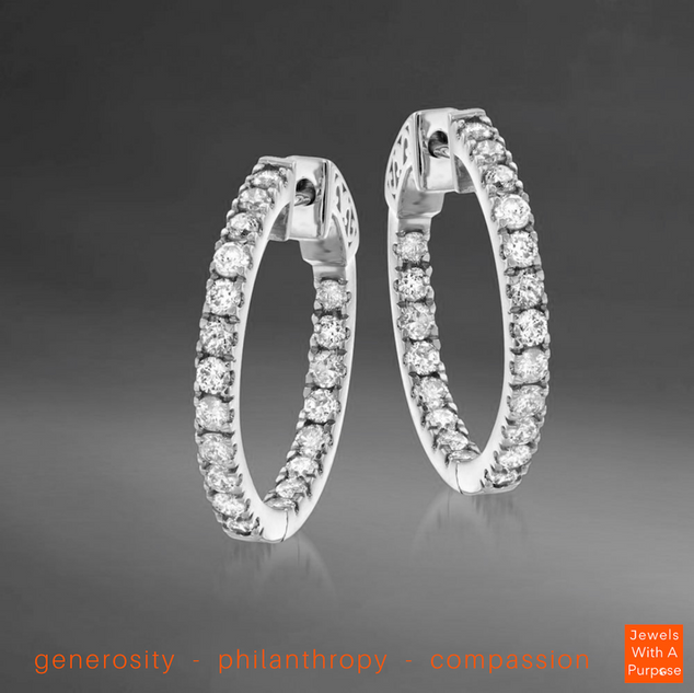 """DAZZLE ALL DAY 1"""" IN WHITE GOLD/ Cost to nonprofit: $75/ Value: $300"""