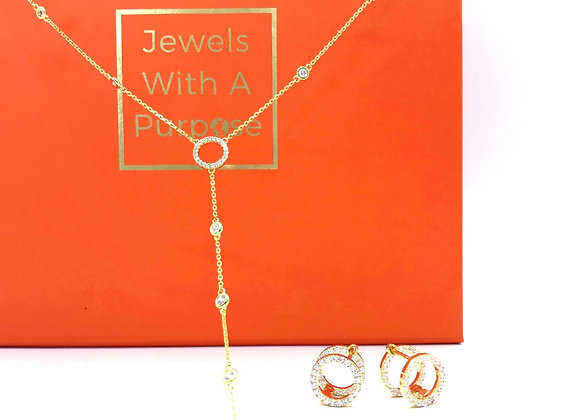 Lovely Lariat Set in Yellow Gold