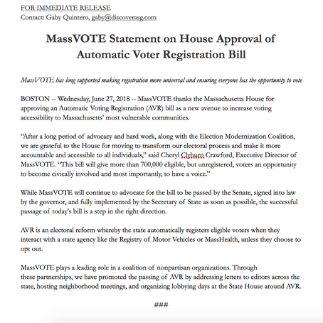 Press Release: AVR Passes 130 to 20 in the House