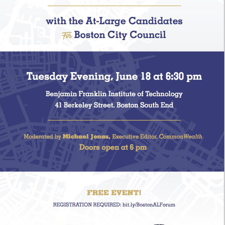 COMMUNITY CONVERSATION: 2019 BOSTON CITY COUNCIL AT-LARGE FORUM