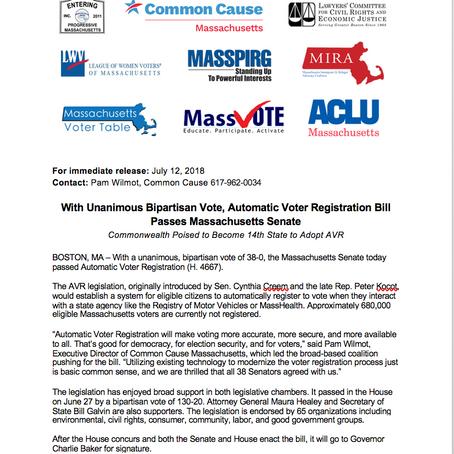 Press Release: MA Senate Passes AVR!