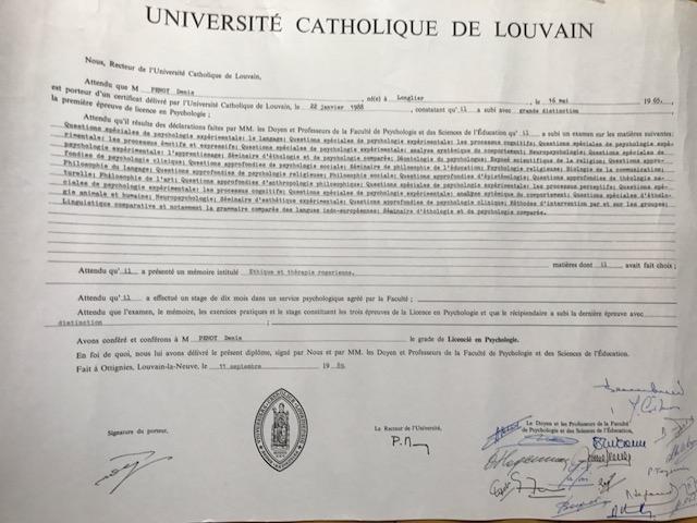 Denis Penoy Diplome de Psychologie, UCL, Belgium