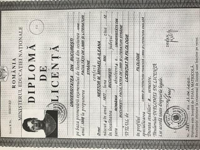 Mihaela Nestor Penoy Diploma de Licenta