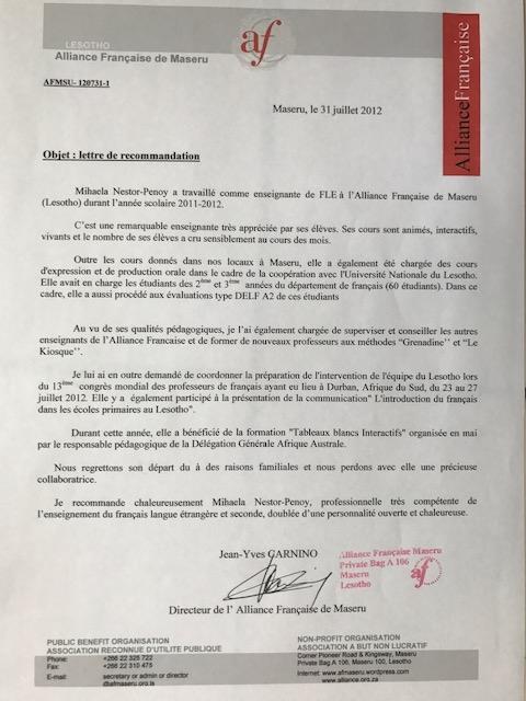 Mihaela_Nestor_Penoy_Recommandation_Alliance_Française_de_Maseru,_Lesotho