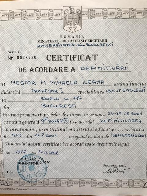 Mihaela Nestor Penoy Certificat Definitivat in Invatament Romanesc