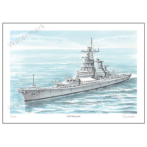 USS Missouri - Limited Edition,  Print A4 or A3