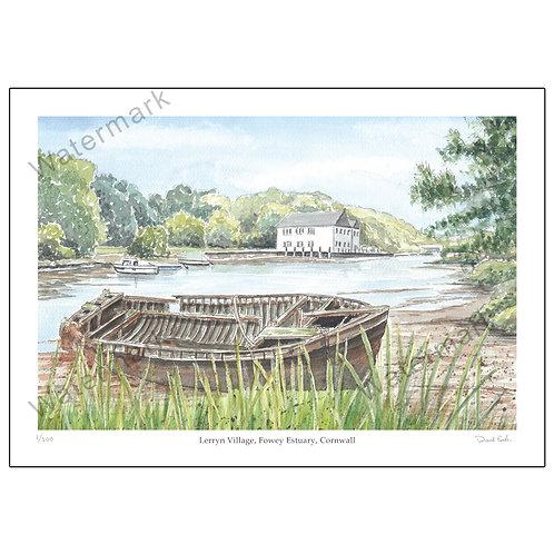 Lerryn Village, Fowey Estuary, Cornwall, Print A4 or A3