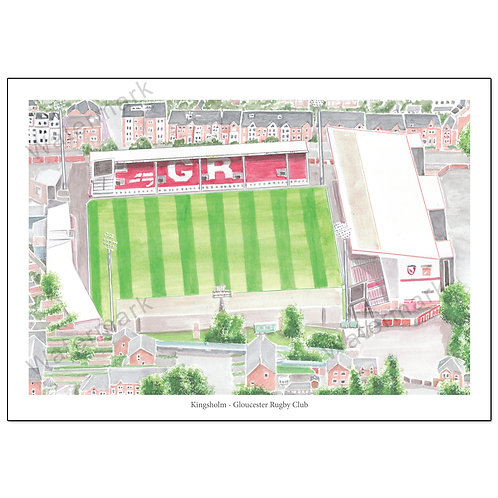 Gloucester Rugby, Kingsholm Aerial View Poster Print A4 / A3