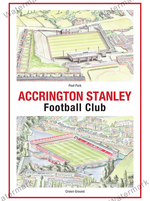 Accrington Stanley, Two Stadium, Print A4 or A3